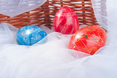 Decorative Easter Eggs on the Snow near Raddle Stock Image