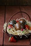 Decorative easter eggs on wooden background Stock Images