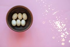 Decorative Easter eggs in a wooden plate on a pink background. stock images