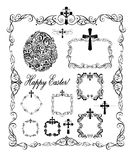 Decorative easter frames with crosses and egg shape black and white Royalty Free Stock Photos