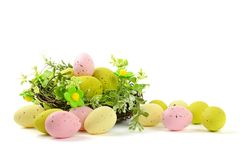 Decorative easter nest with eggs Royalty Free Stock Photography