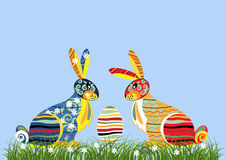 Decorative Easter rabbits Stock Image