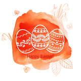 Decorative Easter watercolor background with eggs Stock Images