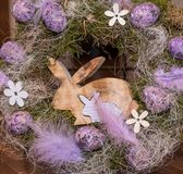 Easter wreath with eggs and bunny stock images