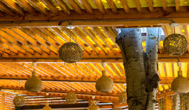 Decorative eco ceiling with wicker balls Royalty Free Stock Images