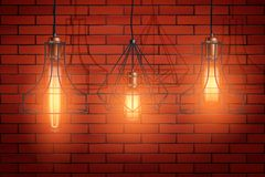 Decorative edison light bulb wire shade stock photography
