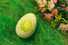 Decorative egg on green grass. Concepts Easter, eggs, hand made flowers Royalty Free Stock Images