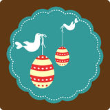 Decorative eggs and birds - Happy Easter Royalty Free Stock Photos