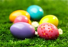 Decorative eggs. Close-up of colored Easter eggs Royalty Free Stock Photography