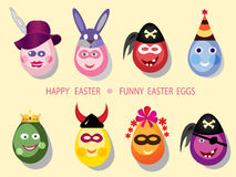 Decorative eggs. Funny easter eggs on the white background Stock Photos