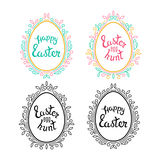 Decorative Eggs Shapes with Floral Frames Stock Photography