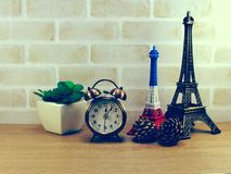 Decorative eiffel tower and different home decor related objects Royalty Free Stock Photos