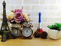 Decorative eiffel tower and different home decor related objects Royalty Free Stock Photography
