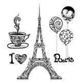 Decorative Eiffel Tower. And Paris vacation symbols set hand drawn isolated vector illustration Royalty Free Stock Images