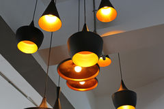 Decorative electric lamps hanging Royalty Free Stock Images