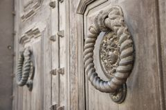 Decorative element of the city`s massive metal gate Royalty Free Stock Photos