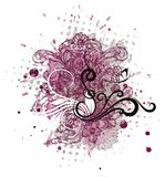 Decorative element for creating Valentine`s Day postcards. Also, this illustration is great for scrapbooking. Floral ornament in violet colour and elements Stock Photography