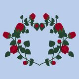 Decorative element for decoration in the form of a heart collected from scarlet roses. vector illustration