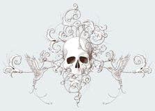 Decorative element engraving with vintage ornament, skull and birds stock illustration