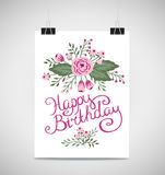 Decorative element floral birthday card. A Summer invitation card. Royalty Free Stock Image