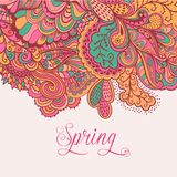 Decorative element, lace border. Spring lettering. Template wa Royalty Free Stock Photos
