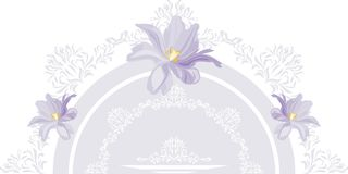 Decorative element with lilac tulips for postcard design royalty free stock images