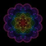 Decorative Element Rainbow Mandala on Black Background. stock illustration