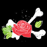 Decorative element with rose and crossbones Stock Images