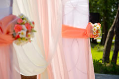 Decorative element of a wedding arch at a wedding ceremony. Floristic composition Stock Photo