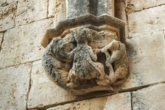 Decorative elements in the Abbey of Bellapais in the Northern Cyprus. Bellapais Abbey is the ruin of a monastery built by Canons Regular in the 13th century royalty free stock photography