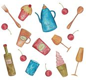 Decorative elements. Artistic work, watercolors on paper Stock Images