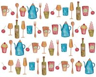 Decorative elements. Artistic work, watercolors on paper Royalty Free Stock Images