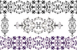 Decorative elements in Baroque style. Stencil and colored variants Royalty Free Stock Photos