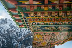Decorative elements of Buddhist temple. Annapurna circuit. Decorative elements of entrance to the Buddhist temple. Annapurna circuit stock images