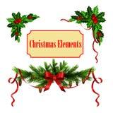 Decorative elements with Christmas evergreen set Stock Image