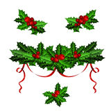 Decorative elements with Christmas holly set Royalty Free Stock Image