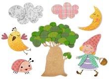 Decorative elements. Colorful graphic illustration for children Stock Images