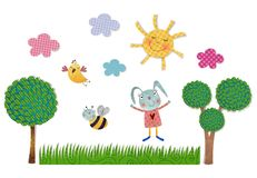 Decorative elements. Colorful graphic illustration for children Stock Photography