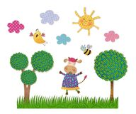 Decorative elements. Colorful graphic illustration for children Royalty Free Stock Image