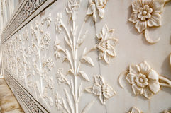 Decorative elements created by applying paint, stucco, stone inlays and carvings Stock Image