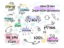 Decorative elements are drawn by hand with brush strokes watercolor and inscriptions. Vector Stock Image