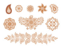 Decorative elements flowers and paisley Royalty Free Stock Photo