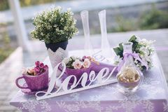Decorative elements and flowers for St. Valentine`s Day. With text inscription love Royalty Free Stock Photos
