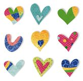 Decorative elements.  Hearts. Colorful graphic illustration for children Royalty Free Stock Photography
