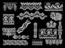 Decorative Elements - Lace Style. 16 Lace Decorative Elements Royalty Free Stock Images