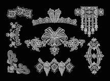 Decorative Elements - Lace Style. 8 Lace Decorative Elements Royalty Free Stock Photography
