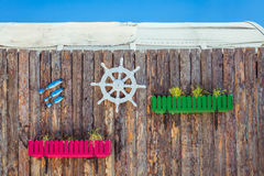 Decorative elements on the marine theme on the Stock Photography