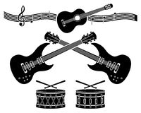 Decorative elements - musical instruments. Royalty Free Stock Image
