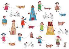 Decorative elements, people walking with dogs. Artistic work, watercolors on paper Stock Image
