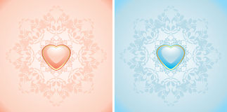 Decorative elements with pink and blue hearts Stock Photos